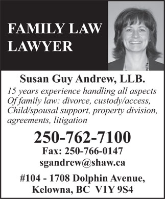 Susan Andrew, Kelowna Family lawyer with 15 years experience in  family law: divorce law, custody and separation agreements