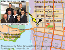 CLICK ON MAP TO VIEWABLE Victoria Street map location of Hutchison Oss-Cech Marlatt personal injury  ICBC lawyers in downtown Victoria