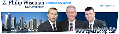 Z.Philip Wiseman, over 20 years expereince helping personal injury clients get a fair settlement from ICBC, in photo is between associate lawyer and former ICBC case manager - offices 2 blocks from Vancouver General Hospital - click to his web site