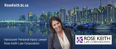 Rose Keith, personal injury lawyer with over 20 years experience in traumatice brain injury and other ICBC settlements - standing in front of Coal Harbor area of downtown Vancouver