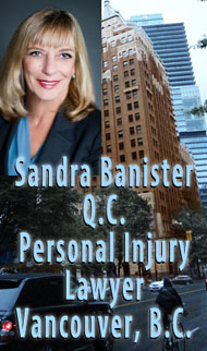 Sandra Banister, QC Queens Counsel, 30+ years ICBC injury claims disputes lawyer and employment lawyer, in front of office in Marine Building on Burrard St. Vancouver - click for more info