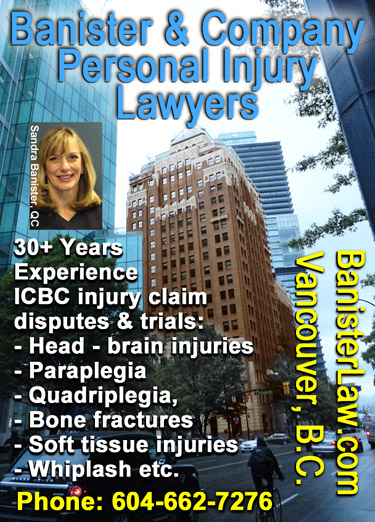 Sandra Banister, QC - with Marine Building, on Burrard St.  downtown Vancouver offices of this 30 year veteran spine & brain  injury _ ICBC personal injury  disputes lawyer