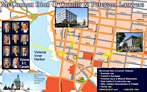 CLICK TO LARGE Victoria street map location for office of Charlotte Salomon, QC,  personal injury lawyer  ICBC claims settlement disputes - with McConnan Bion O'Connor Peterson law corp