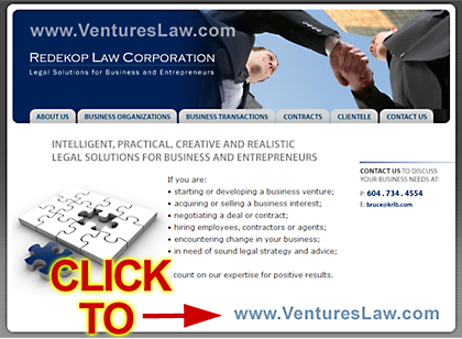 VenturesLaw.com web site for Bruce Redekop, BA JD Vancouver business ventures Lawyer and Registered Trademark agent